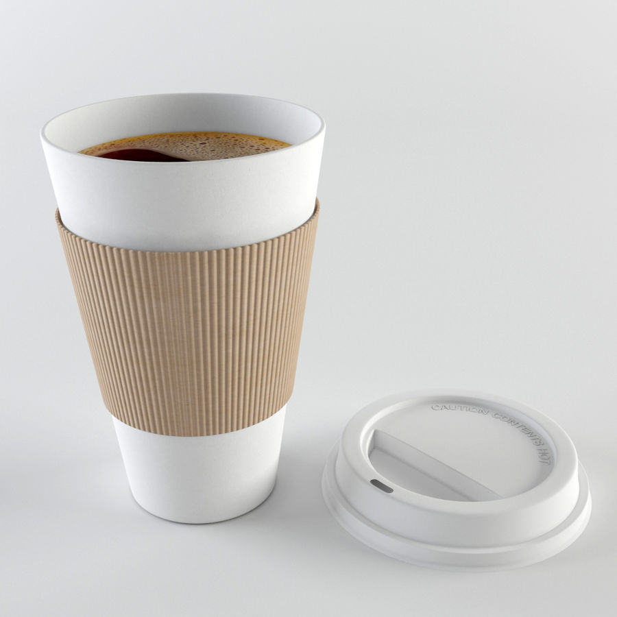 Paper Coffee Cup royalty-free 3d model - Preview no. 6
