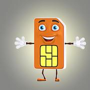 cartoon sim card 3d model