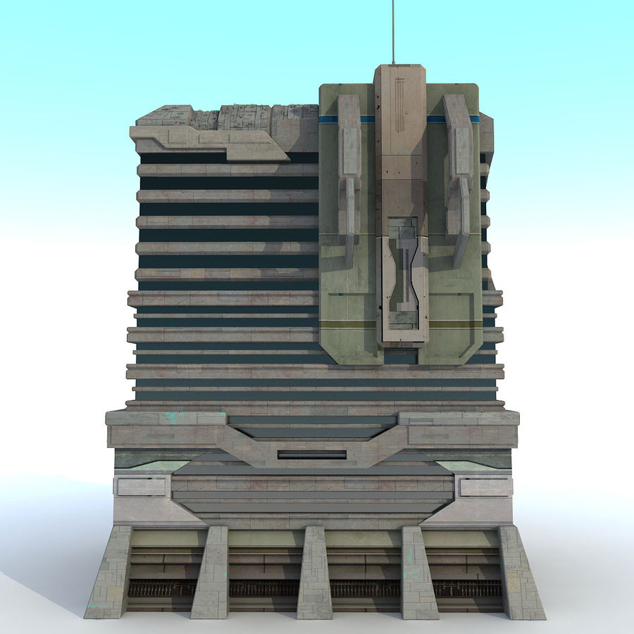 Sci Fi Building I Futuristic Modern royalty-free 3d model - Preview no. 4
