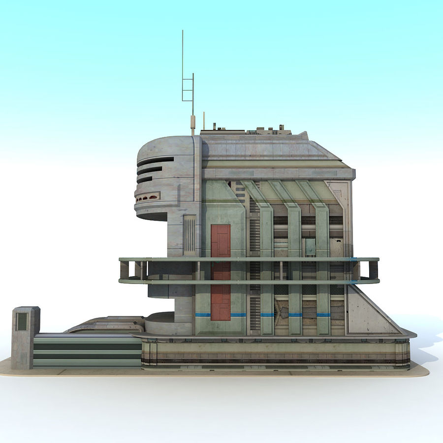 Sci Fi Building B Futuristic royalty-free 3d model - Preview no. 3