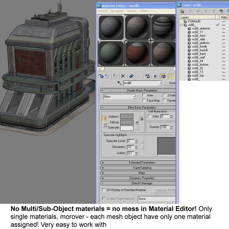 Sci Fi Building B Futuristic royalty-free 3d model - Preview no. 12