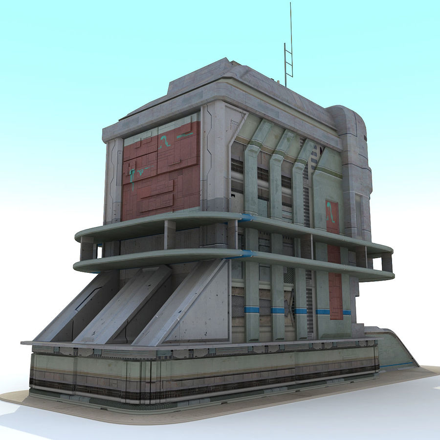 Sci Fi Building B Futuristic royalty-free 3d model - Preview no. 4