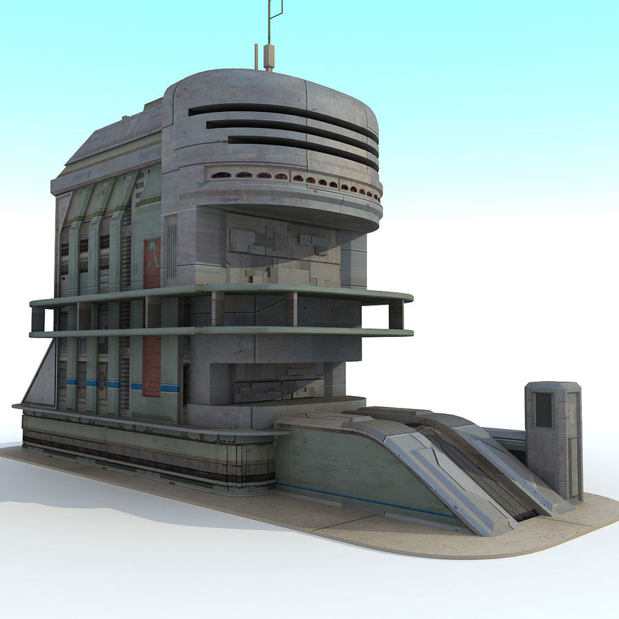 Sci Fi Building B Futuristic royalty-free 3d model - Preview no. 2