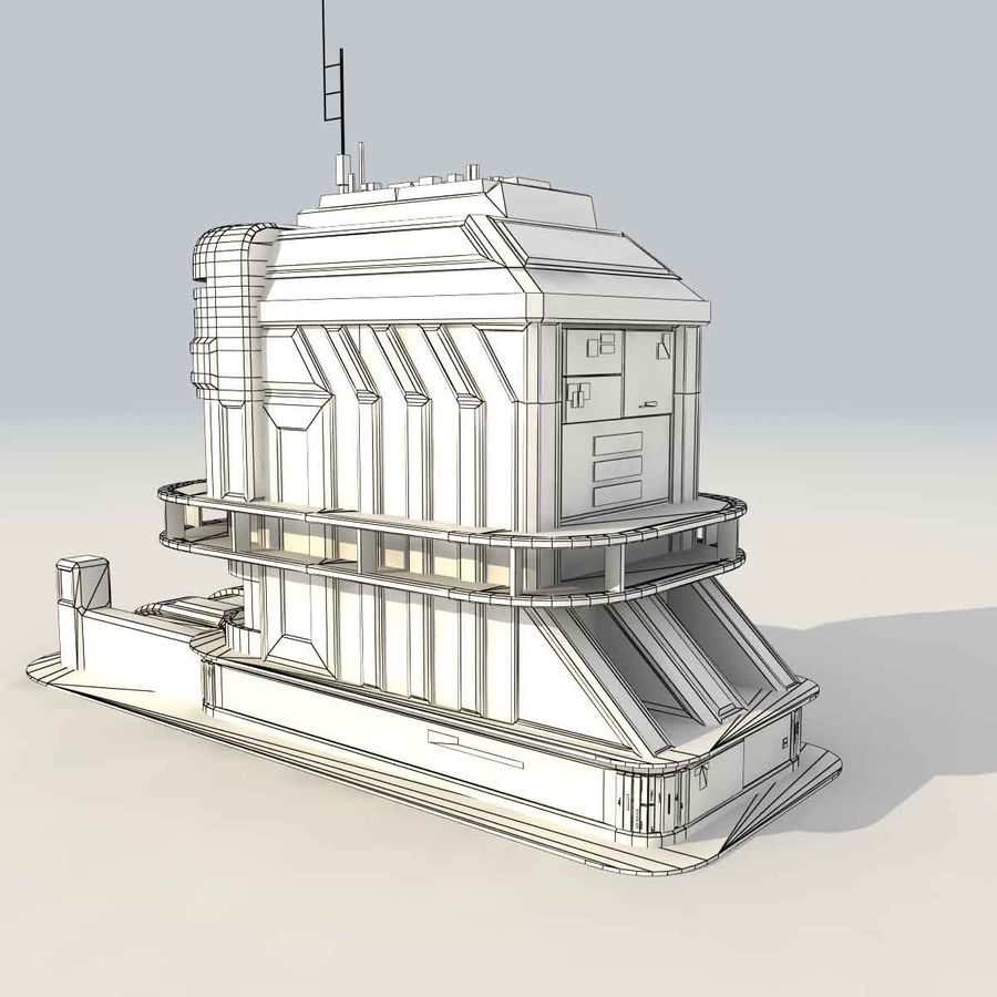 Sci Fi Building B Futuristic royalty-free 3d model - Preview no. 10