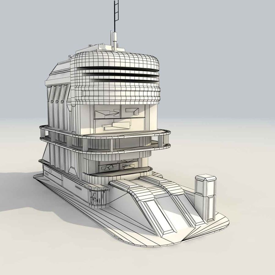 Sci Fi Building B Futuristic royalty-free 3d model - Preview no. 11
