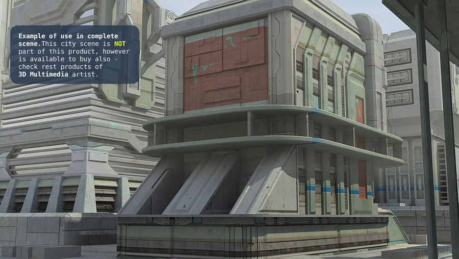 Sci Fi Building B Futuristic royalty-free 3d model - Preview no. 13