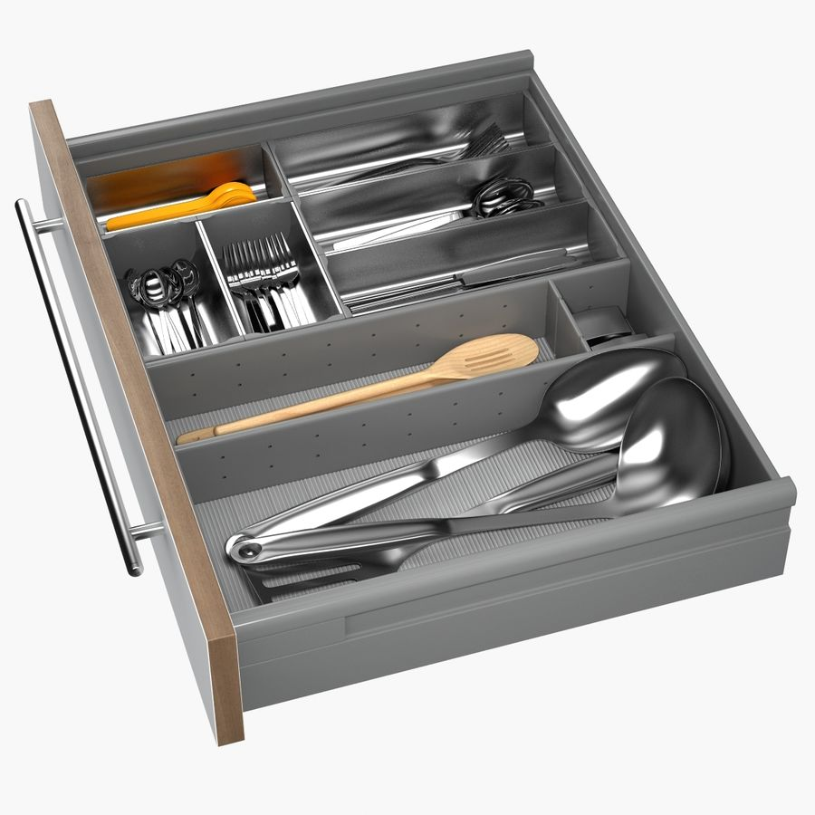 Kitchen Drawer 2 royalty-free 3d model - Preview no. 4