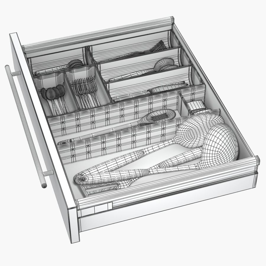 Kitchen Drawer 2 royalty-free 3d model - Preview no. 12