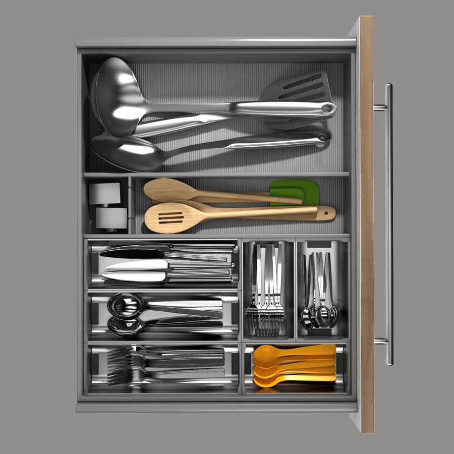 Kitchen Drawer 2 royalty-free 3d model - Preview no. 2