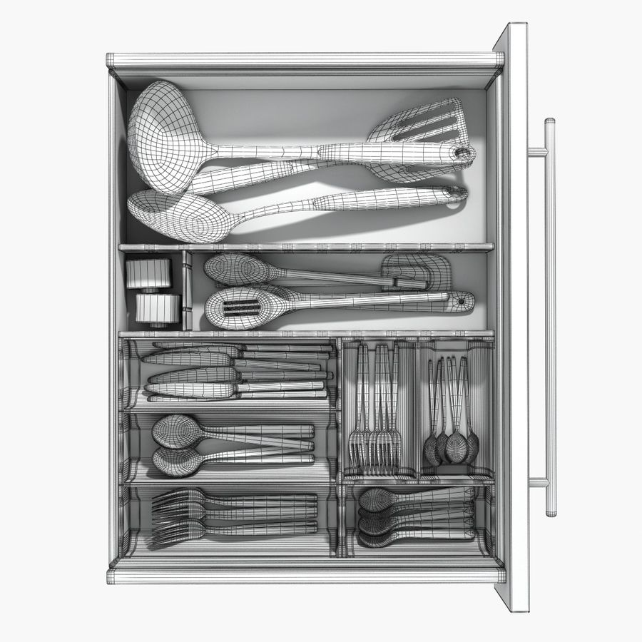 Kitchen Drawer 2 royalty-free 3d model - Preview no. 10