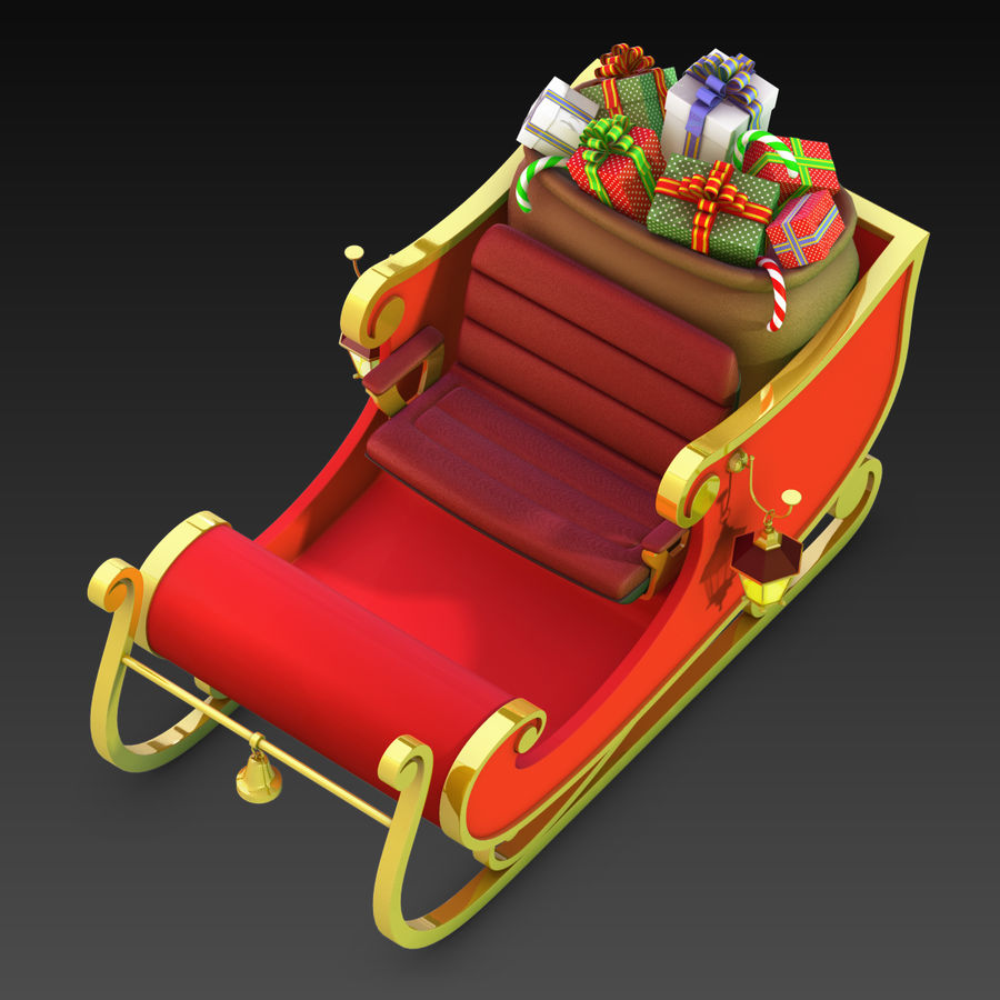 Santa Sleigh royalty-free 3d model - Preview no. 10