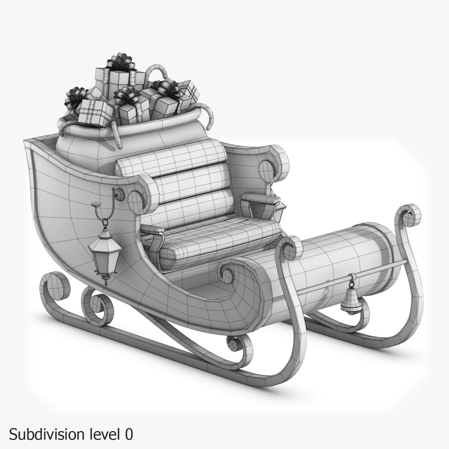 Santa Sleigh royalty-free 3d model - Preview no. 25