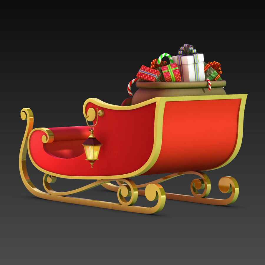 Santa Sleigh royalty-free 3d model - Preview no. 8
