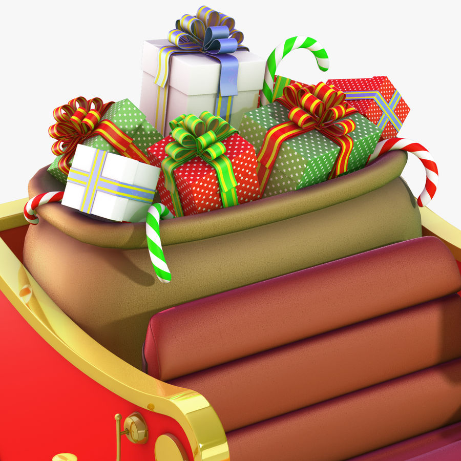 Santa Sleigh royalty-free 3d model - Preview no. 17
