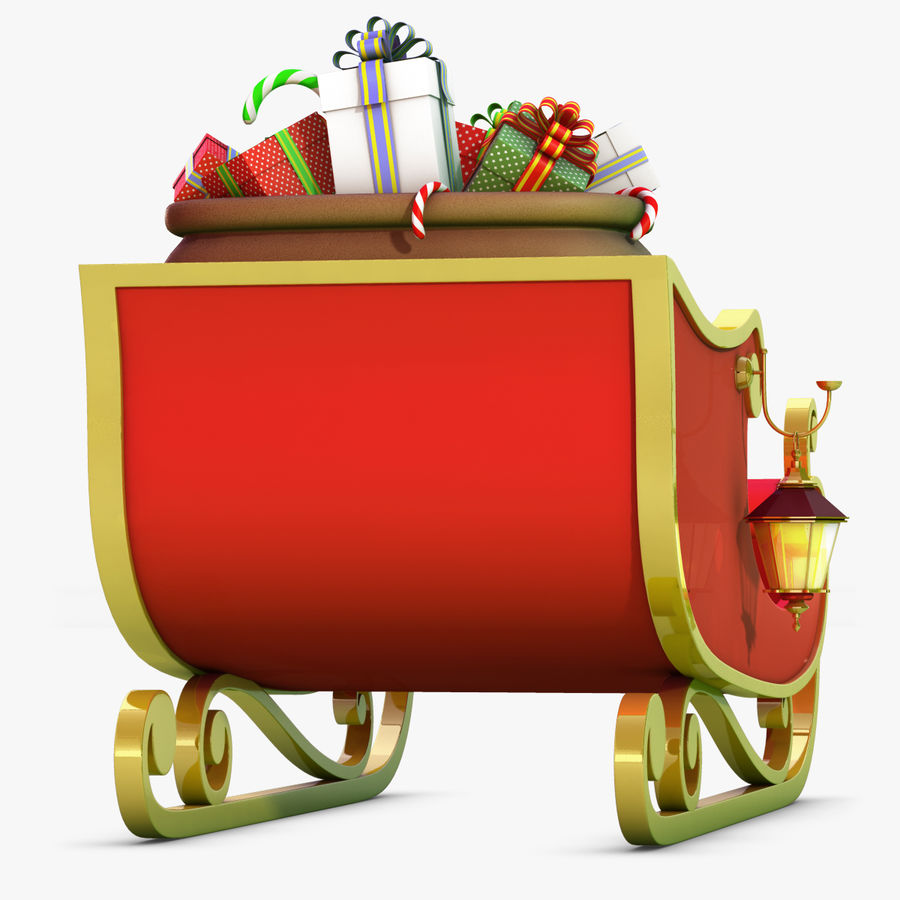Santa Sleigh royalty-free 3d model - Preview no. 19