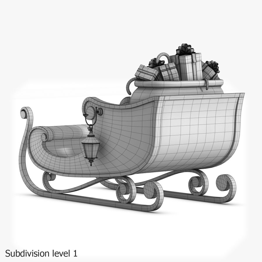Santa Sleigh royalty-free 3d model - Preview no. 28