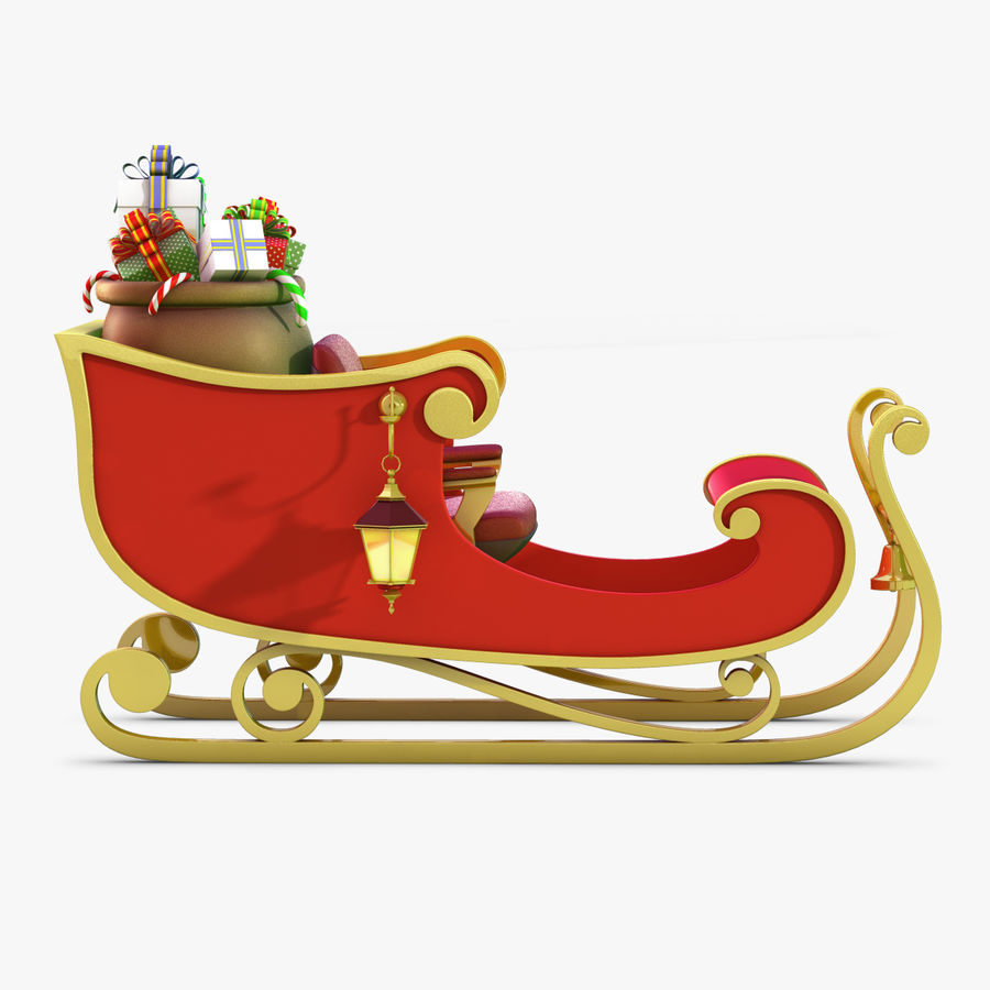 Santa Sleigh royalty-free 3d model - Preview no. 3