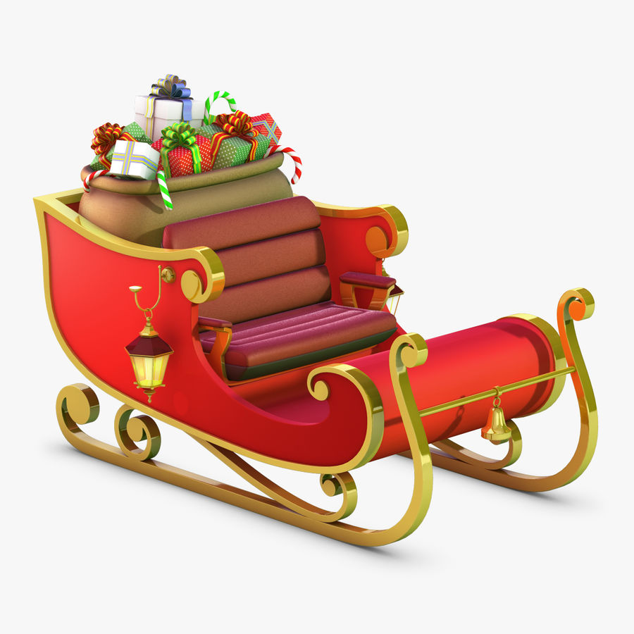 Santa Sleigh royalty-free 3d model - Preview no. 1
