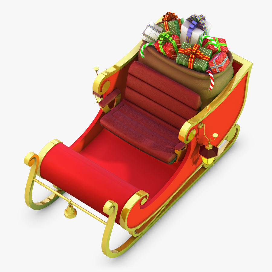 Santa Sleigh royalty-free 3d model - Preview no. 9