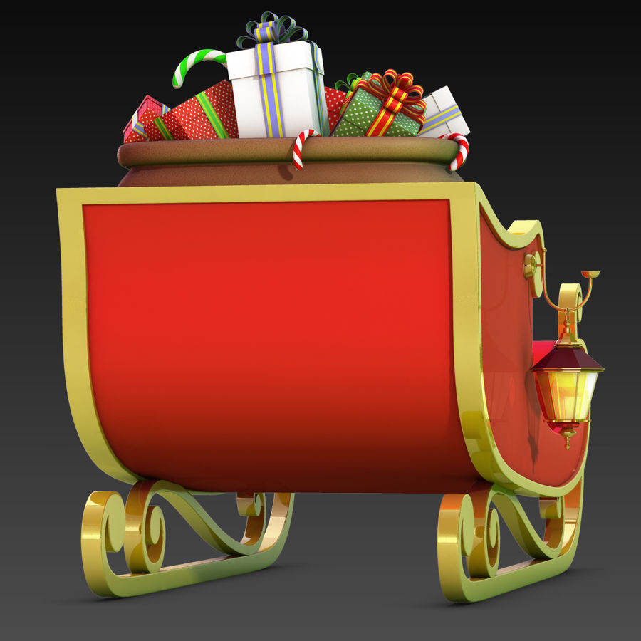 Santa Sleigh royalty-free 3d model - Preview no. 20