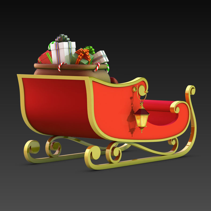 Santa Sleigh royalty-free 3d model - Preview no. 6