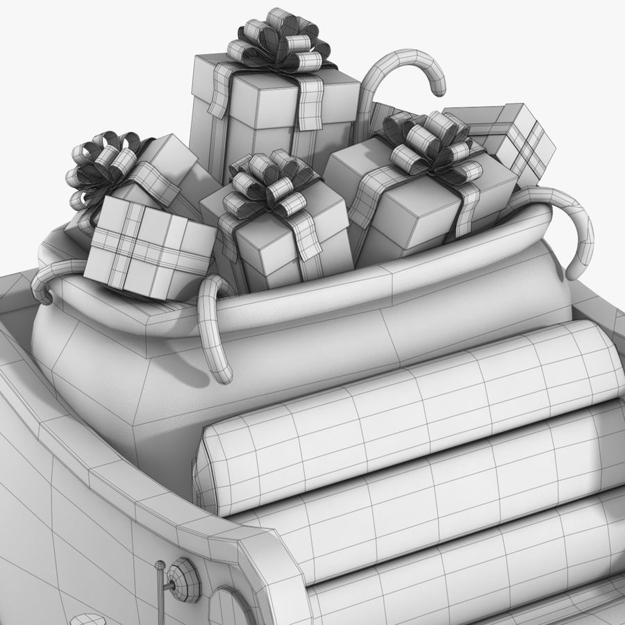 Santa Sleigh royalty-free 3d model - Preview no. 32