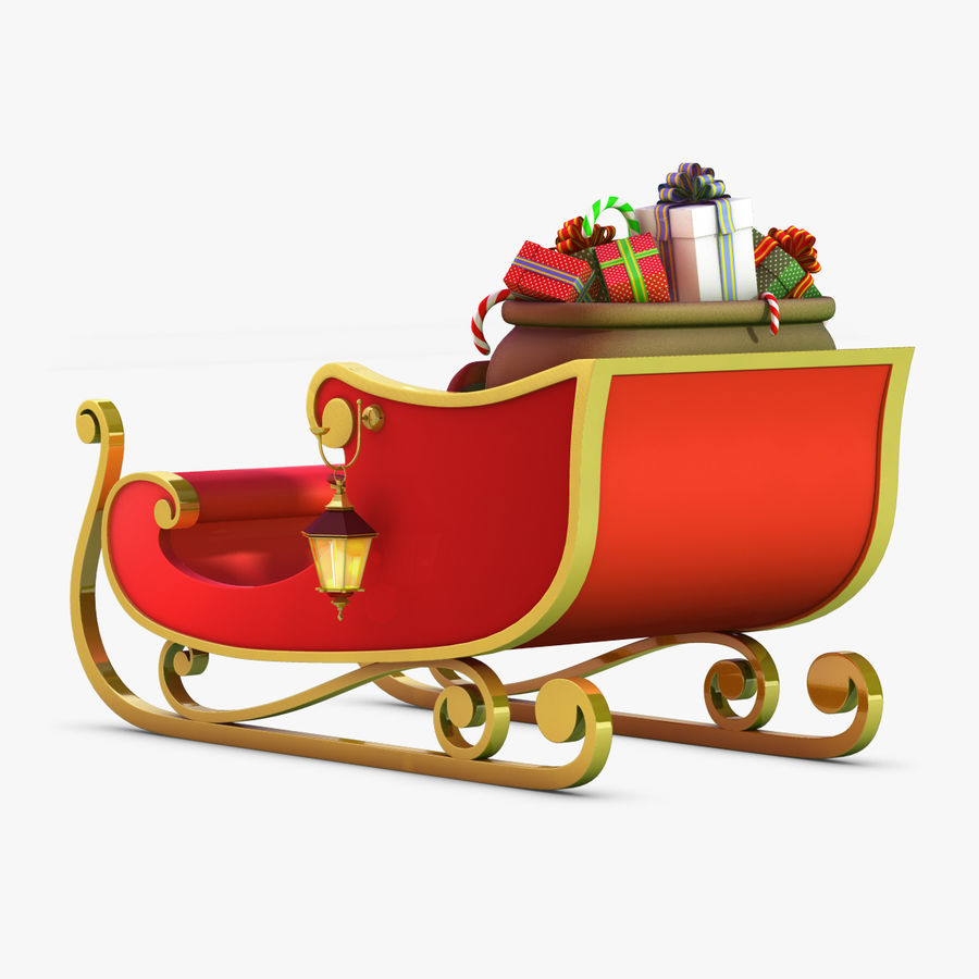 Santa Sleigh royalty-free 3d model - Preview no. 7