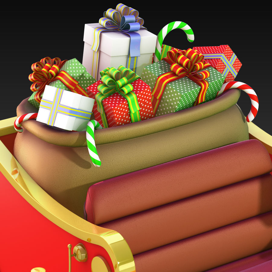 Santa Sleigh royalty-free 3d model - Preview no. 18