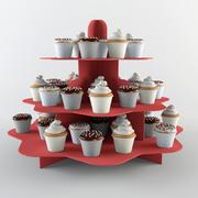 カップケーキ&スタンドセット 3d model