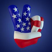 USA-Friedensfinger 3d model
