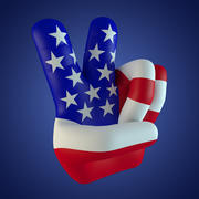 USA Peace Fingers 3d model
