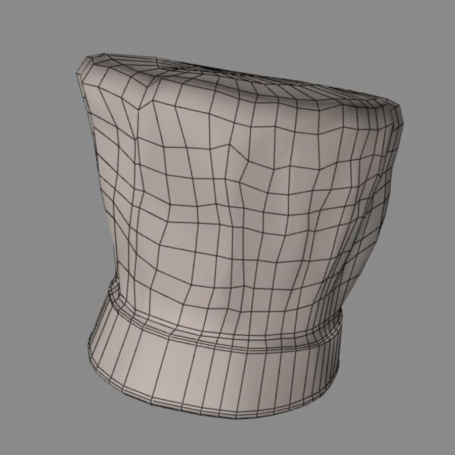 Поварская шляпа 02 royalty-free 3d model - Preview no. 11