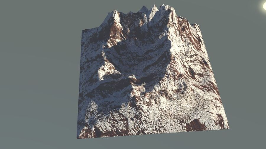 High Poly Mountain royalty-free 3d model - Preview no. 3