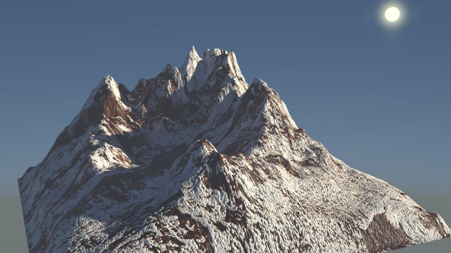 High Poly Mountain royalty-free 3d model - Preview no. 2