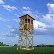 Torre de guardia de madera modelo 3d