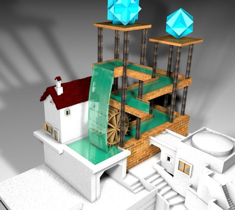 Şelale Escher royalty-free 3d model - Preview no. 5