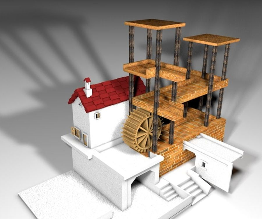 Şelale Escher royalty-free 3d model - Preview no. 6
