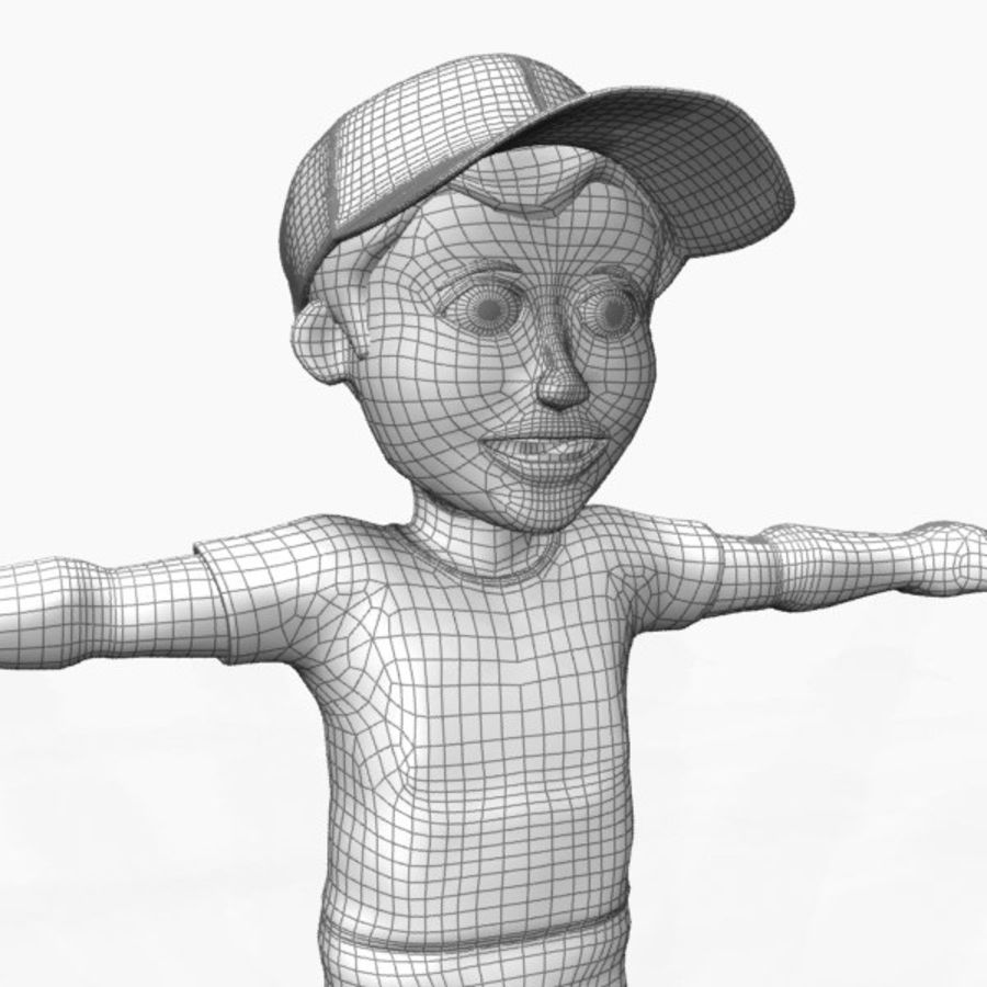 cartoon character (boy) royalty-free 3d model - Preview no. 4