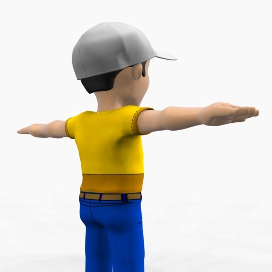 cartoon character (boy) royalty-free 3d model - Preview no. 3