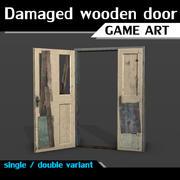 Damaged wooden door 3d model