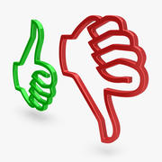 Thumbs Up & Down Icons 2 3d model