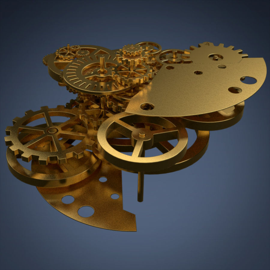 Clock mechanism and gears royalty-free 3d model - Preview no. 8