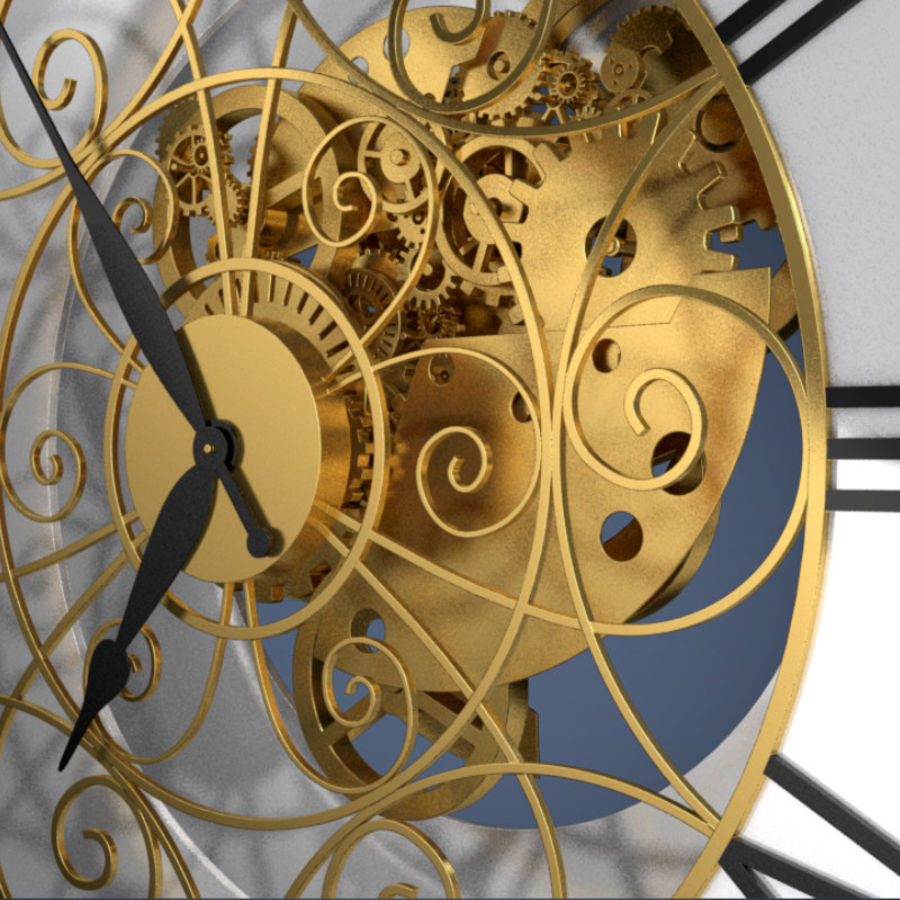 Clock mechanism and gears royalty-free 3d model - Preview no. 3