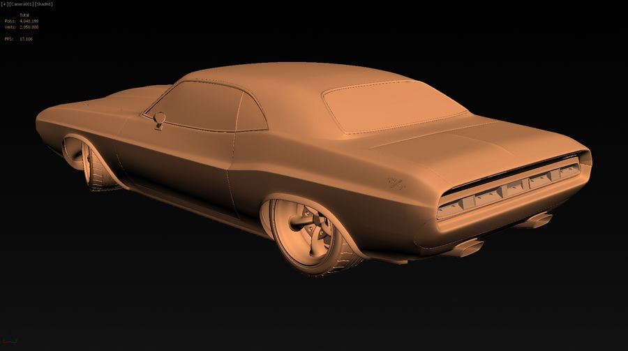 Dodge Challenger royalty-free 3d model - Preview no. 15
