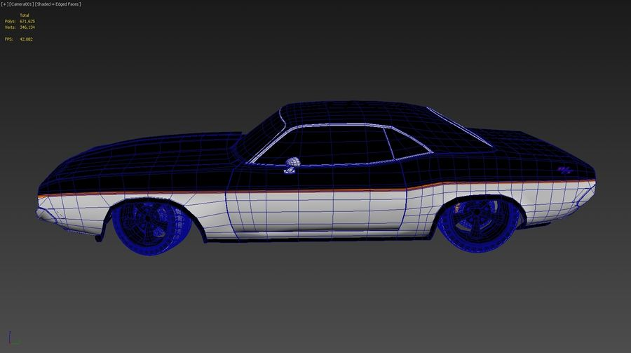 Dodge Challenger royalty-free 3d model - Preview no. 8