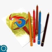 Цветные карандаши 3d model
