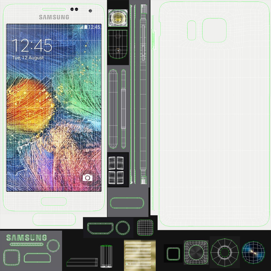 Samsung Galaxy Alpha Smartphone 2014 Wit royalty-free 3d model - Preview no. 21