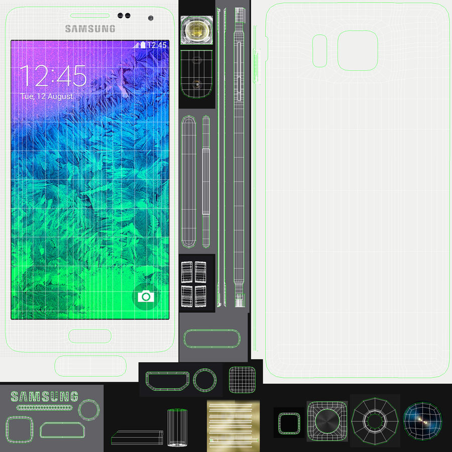 Samsung Galaxy Alpha Smartphone 2014 Wit royalty-free 3d model - Preview no. 22