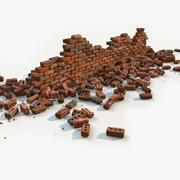 Damaged Brick Wall 3d model