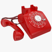 Red Rotary Phone 3d model